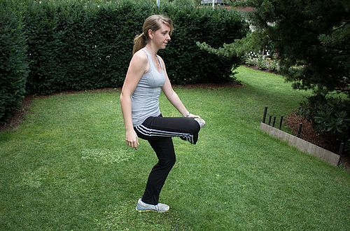 One Legged Stand: Stand on the right leg with the left leg lifted up in front. With the right hand, touch the left toes…
